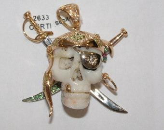 ciondolo teschio pirata oro 18kt diamanti skull pendant gold diamonds peridotto