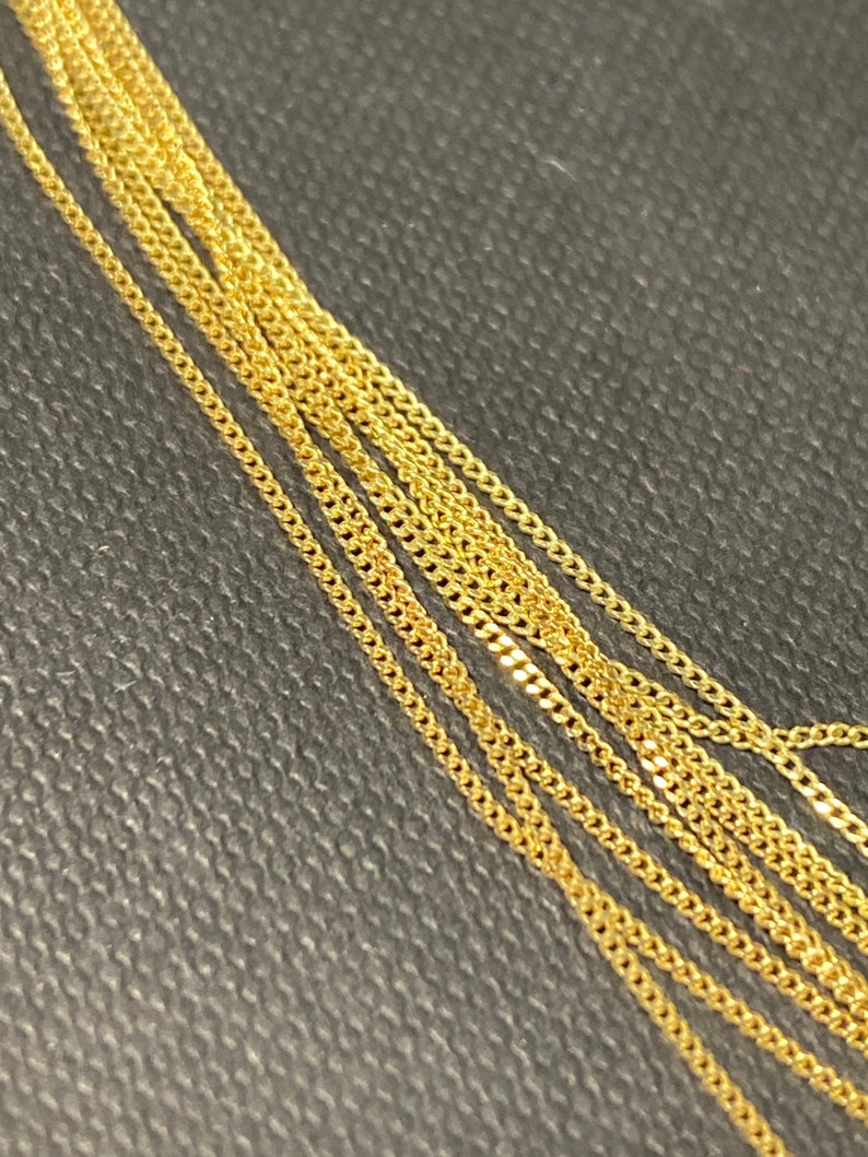 Supple 1mm Curb Link Chain Solid 14K Yellow Gold 17