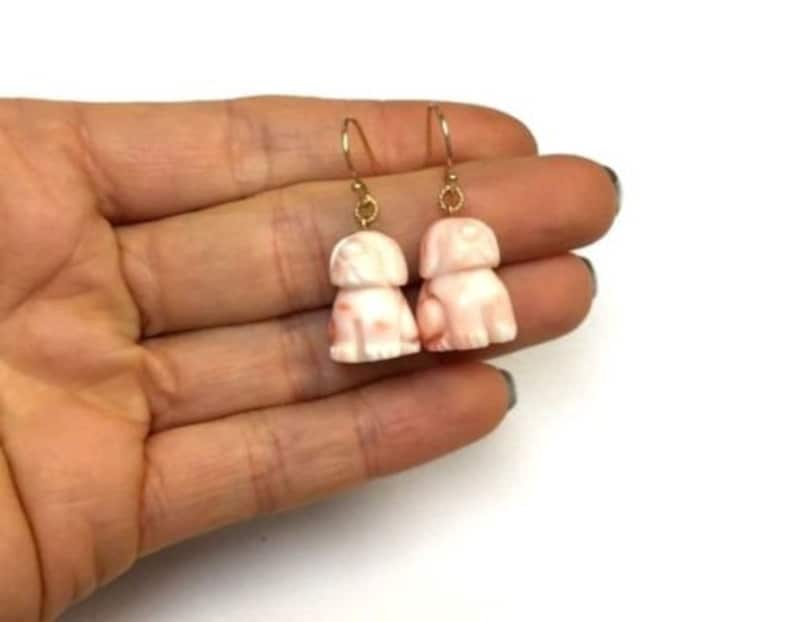 14K Yellow Gold Light Pink Salmon Colored Coral Carved Dog Earrings
