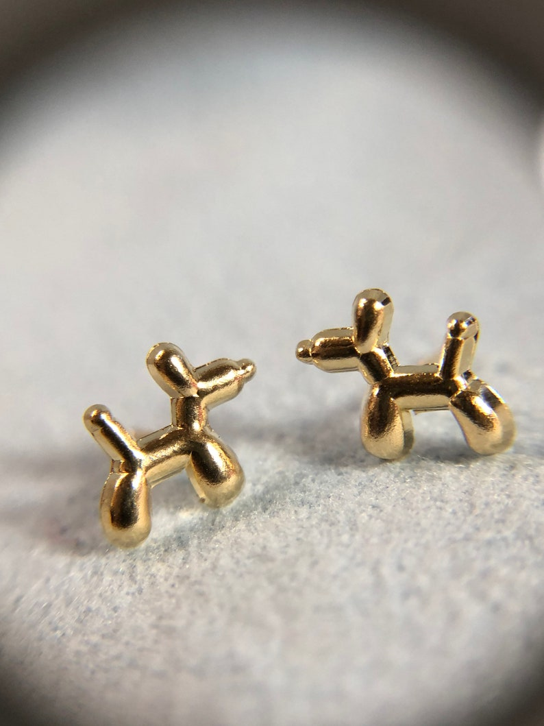 Solid 14K Yellow Gold Balloon Animal Dog Earrings with Screw Backs  9x8mm Cute!