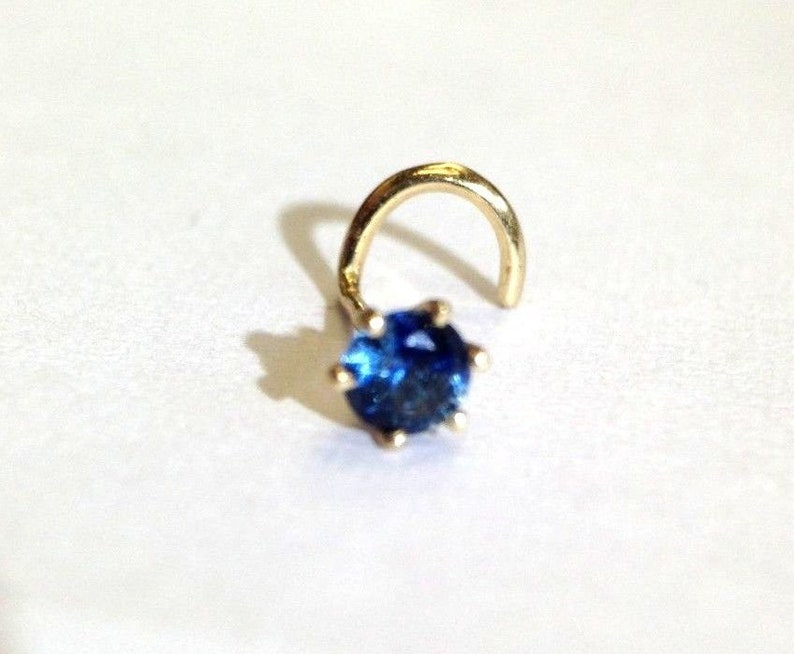 New 14K Yellow Gold Natural .10CT 3mm Deep Blue Sapphire Nose Stud Screw