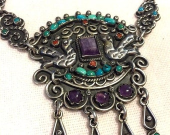 Fabulous Taxco Mexico Amethyst Turquoise Coral Sterling Silver Bird Necklace
