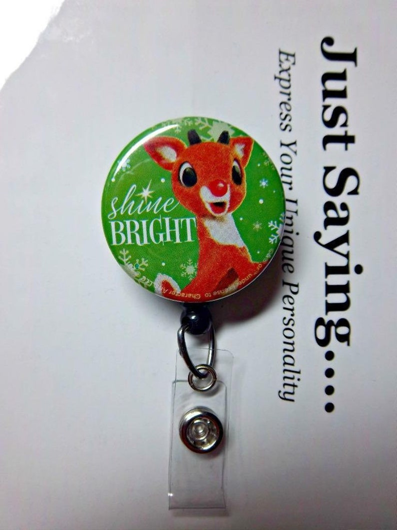 TV Holiday Classic Character ~ Retractable Reel ID Badge Holder You pick reel style Shine Bright Rudolph the Red Nose Reindeer