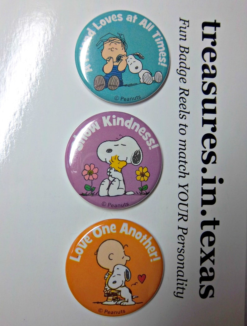 SNOOPY and Friends Set #2 Motivational Inspirational Theme Face Plates for our Magnetic Exchangeable Retractable ID Badge Reel System