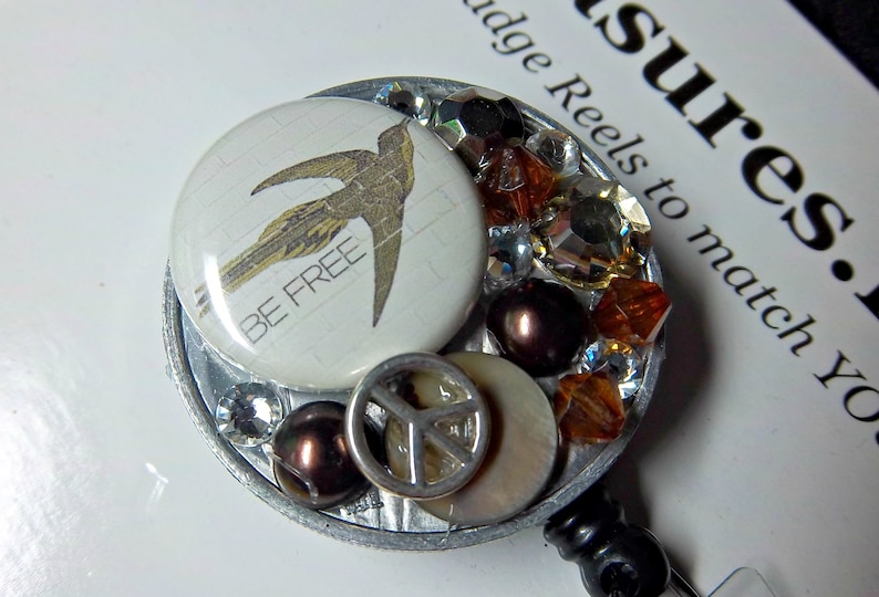 Peace Sign Browns Silver Mixed Media  with 5 mm Crystal Bling OOAK  Be Free Bird You pick reel style Retractable Reel ID Badge Holder