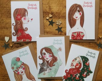 5 Seasons Greetings Cards, Lovely Christmas Cards, Lovely Xmas Cards, Cosy Christmas Cards, Cosy Xmas Cards, Cosy Cards, Xmas Cards