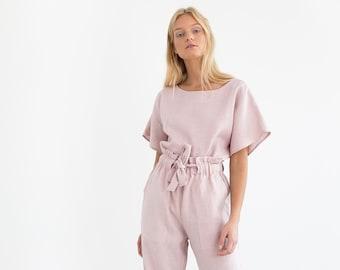 e23f5db8d79e JULIET Wide Leg Linen Pants / High Waist Linen Pants / Linen Trousers /  Paper Bag Waist Pants / Handmade Linen Clothing