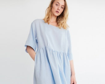ANA Smock Linen Dress / Loose Fit Washed Midi Linen Dress / Women Linen Summer Dress / Maternity Dress