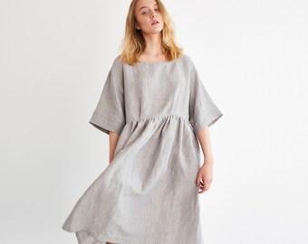 HANA Smock Linen Dress / Loose Washed Linen Dress / Women Linen Summer Dress / Maternity Dress