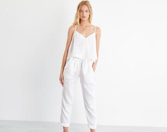 SAVANNAH Cropped Linen Pants / Washed Linen Drawstring Trousers / Women Tapered Leg High Waist Linen Pants