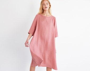 CHARLOTTE Trapeze Linen Dress /Linen Midi Dress