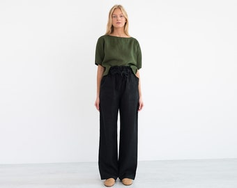 1ec080ac977e JULIET Wide Leg Linen Pants / High Waist Linen Trousers / Paper Bag Waist  Pants / Summer Beach / Handmade Linen Clothing