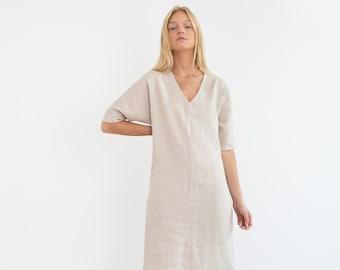 JASMINE Linen Dress  / Linen Tunic Dress / Linen Summer Dress / Midi Dress