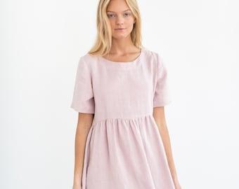 6a616ff1415 MATILDA Linen Dress   Midi Summer Dress   Short Sleeve Simple   Handmade  Clothing For Women