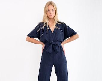 12dbed4697c6 AURORA Linen Jumpsuit   Loose Linen Overalls   Linen Romper With Belt