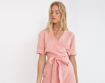 55c704ddac2 BRIGITTE Linen Wrap Dress   Linen Summer Dress