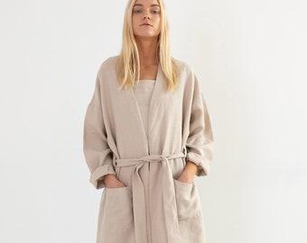 NORA Linen Coat in Beige / Handmade Linen Clothing For Women