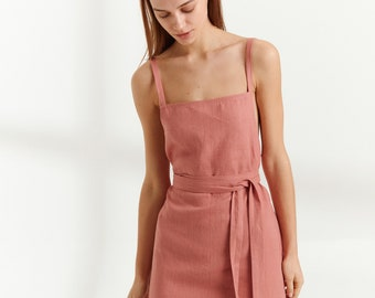 MAPLE Linen Dress / Square Neck Summer Dress in Salmon Pink