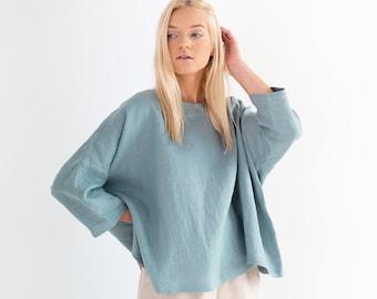 AMELIA Linen Blouse / Linen Tops for Women / Handmade Clothing