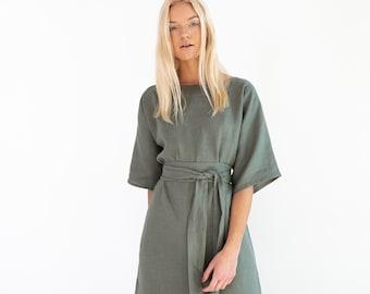 ISABEL Linen Dress for Women / Linen Kimono Dress