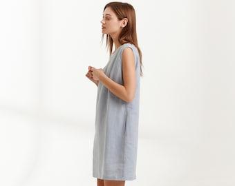 AJA Linen Dress / Simple Summer Dress in Bluestone