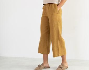 RILEY Linen Pants for Women / Wide Leg Linen Trousers in Yellow Honey / Palazzo Pants