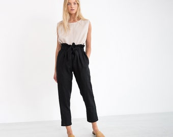 NOAH Linen Pants / Elegant Tapered Linen Trousers / Paper Bag Waist Pants