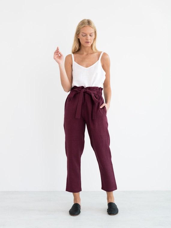 codice promozionale 80542 a4329 Pantaloni di lino NOAH / sacchetto di carta pantaloni / pantaloni di lino /  lino pantaloni / Handmade abbigliamento per le donne