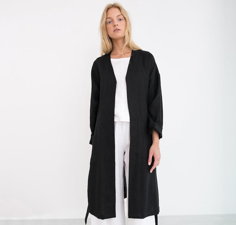 b62ad098d1 NORA Linen Coat   Black Linen Jacket   Long Blazer With Belt