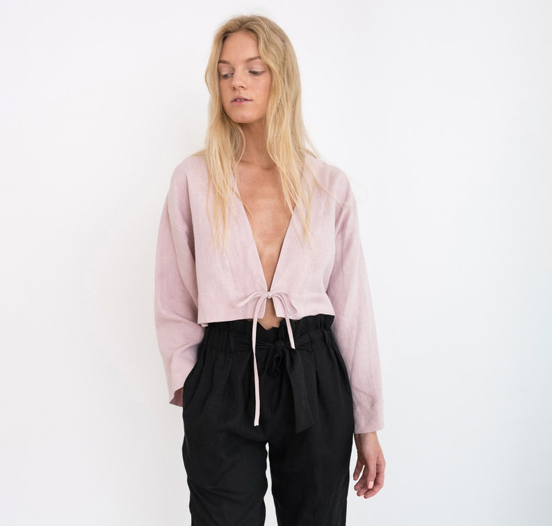 VICTORIA Linen Tie Front Top / Long Sleeve Cropped Linen image 0