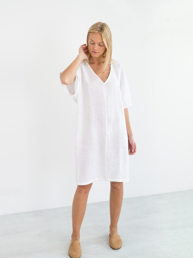 5a5ebdd223ae PEONY Linen Dress White   Simple Summer Dress   Loose Short