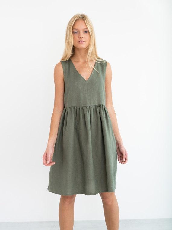 9a31dc0a3ee FRESSIA Linen Dress   Sleeveless Summer Midi Dress   Handmade