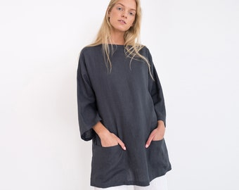 ALEXIS Oversized Linen Tunic Top / Elegant Linen Tunic With Front Pockets / Plus Size Tunic