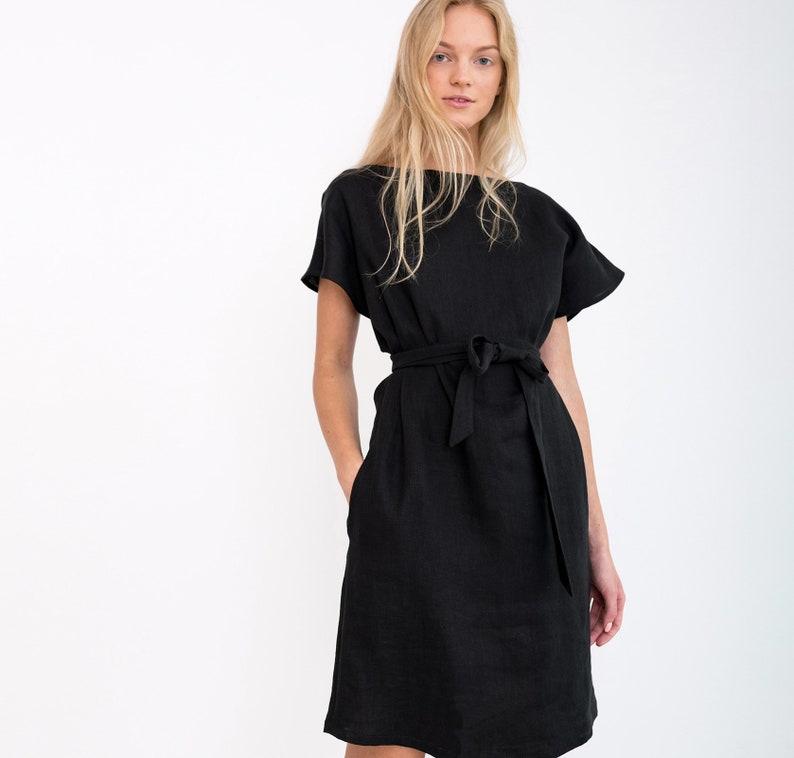 7fb921f0b22 PÉNÉLOPE robe en lin avec ceinture   élégante manche Midi
