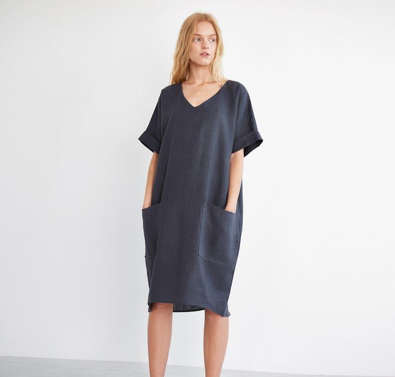 8d8a5d2d4e RUBY Oversized Linen Dress / Washed Linen Women Dress / Short Sleeve Linen  Dress / Linen Tunic Dress