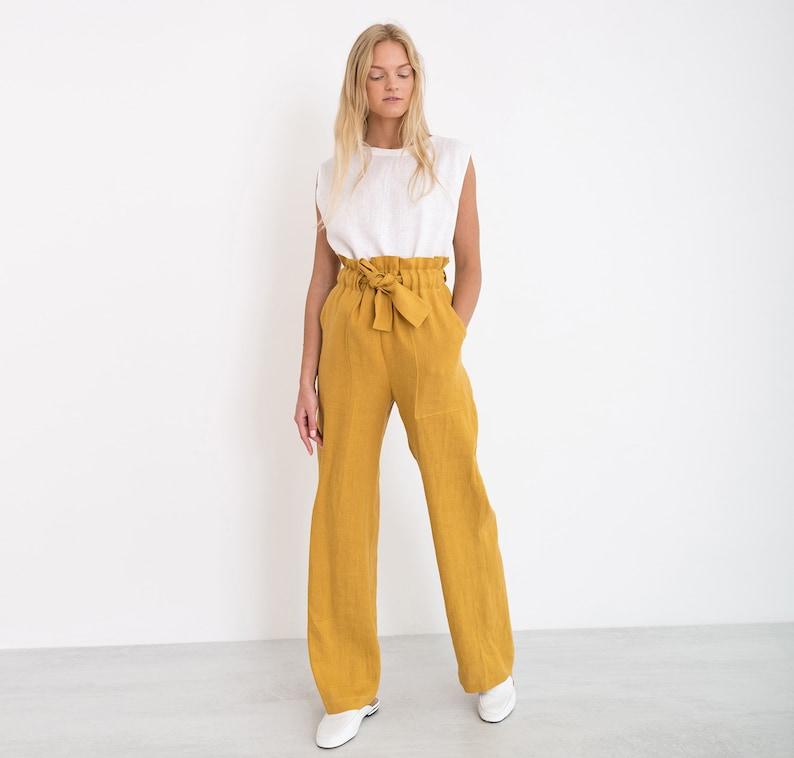 ed9d411b24ec JULIET Wide Leg Linen Pants / Elegant High Waisted Linen Pants | Etsy