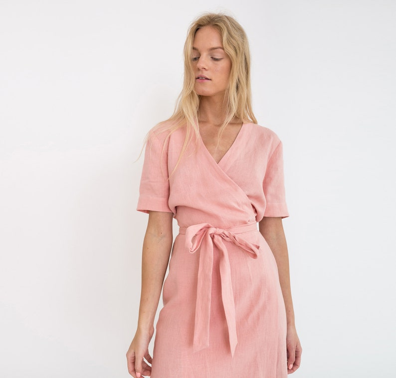 6280fbd09ae BRIGITTE Linen Bridesmaid Dress With Short Sleeves in Blush