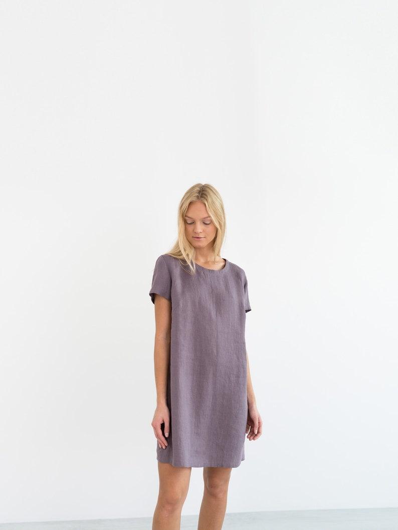 ad8c96b629 BEATRICE Linen Mini Dress   Simple Summer Dress   Short Sleeve