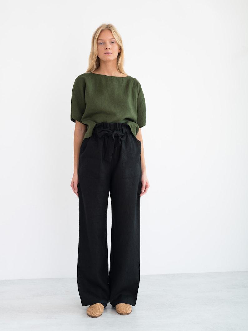 BEE Linen Top  Simple Linen Blouse  Loose Linen Shirt  Linen Tunic  Handmade Clothing For Women