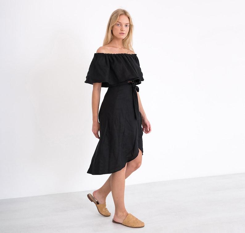 ce2b2103aba MAYA Linen Wrap Skirt   Black Midi Linen Skirt