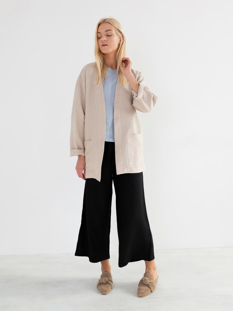 SELBY Linen Jacket for Women / Linen Blazer in Beige image 0