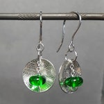 Green glass leaf drop earrings - reserved