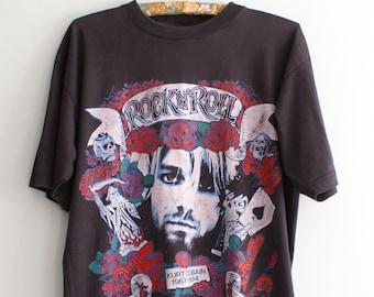 fdc5a972d Kurt Cobain Vintage T-shirt, Hyperrare Vintage Nirvana T-shirt, Vintage  Band T-shirt, Kobain Rocknroll Suicide shirt