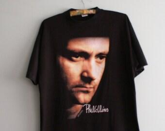 18b3c50bc 1990 Phil Collins World Tour T-shirt, Vintage Phil Collins T-shirt, Phil  Collins But Seriously t-shirt, Genesis t-shirt, Vintage Band shirt