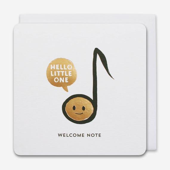 Hand drawn emoji music note BIRTHDAY NOTE Birthday Card luxury gold foil two colour design