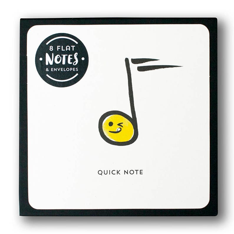 Music themed postcard Gift Set of funny emoji music notes for musicians and music lovers 8 Quick Note Box Set