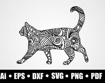 Mandala Cat / SVG / Dxf / Png / Eps / Ai / Pdf / Cricut Explore /  Silhouette Studio / Vinyl Decal Design / Shirt Print / Digital Download