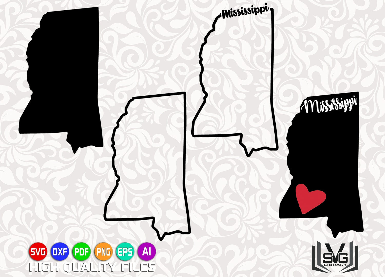 Mississippi SVG - Mississippi outline SVG - Mississippi cut files -  Mississippi state design - State outline svg - United States SVG
