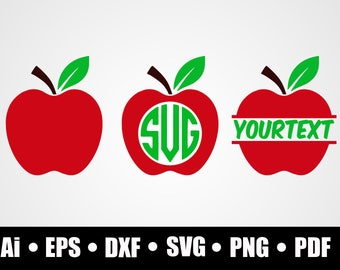 Apple / SVG / Dxf / Png / Eps / Ai / Pdf / Cicut explore / Silhouette studio / Shirt print design / Vinyl decal design / digital download