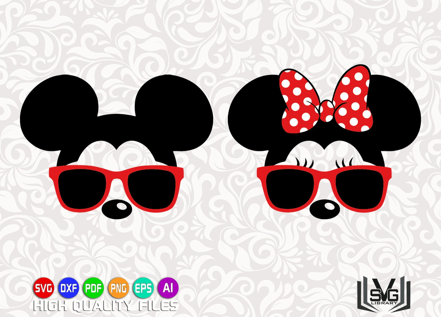 Mickey and Minnie with sunglasses SVG - Mickey mouse svg - Minnie mouse svg  - Disney cut files - Mickey mouse clipart - cricut cut files